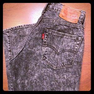 Vintage Black Acid Wash Levi 511 Jeans